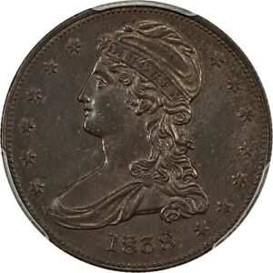 1838 CAPPED BUST 50C REEDED EDGE PCGS AU55 SUPERB COIN WITH THICK ORIGINAL TONE