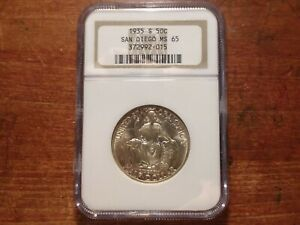 1935 S SAN DIEGO COMMEMORATIVE SILVER HALF DOLLAR NGC MS65