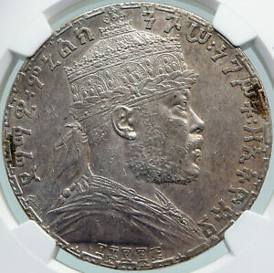 Click now to see the BUY IT NOW Price! 1895 ETHIOPIA LION OF JUDAH EMPEROR MENELIK II OLD SILVER BIRR COIN NGC I87741