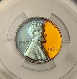 BEAUTIFUL 1963 LINCOLIN PENNY PCGS PR66RB TURQUOISE TONING