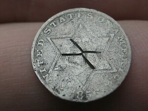 1856 THREE 3 CENT SILVER TRIME  X COUNTERSTAMP