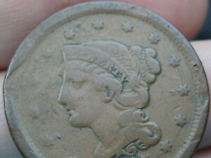 1855 OR 1845 BRAIDED HAIR LARGE CENT PENNY UPRIGHT 5