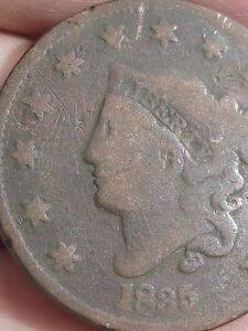 1835 MATRON HEAD LARGE CENT PENNY LARGE 8 AND STARS ROTATED REVERSE MINT ERROR