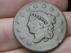 1833 MATRON HEAD LARGE CENT PENNY  VG DETAILS ROTATED REVERSE ERROR
