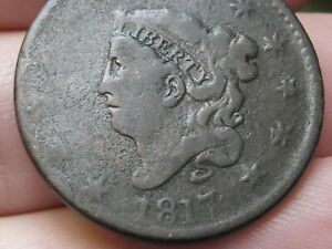 1817 MATRON HEAD LARGE CENT PENNY  13 STARS ROTATED REVERSE ERROR VG DETAILS