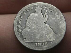 1838 SEATED LIBERTY DIME  LARGE STARS