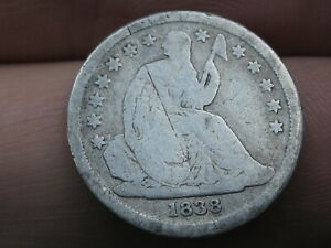 1838 SEATED LIBERTY SILVER DIME  LARGE STARS GOOD DETAILS