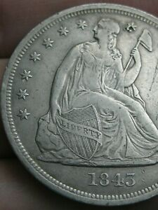 1843 SEATED LIBERTY SILVER DOLLAR  XF DETAILS