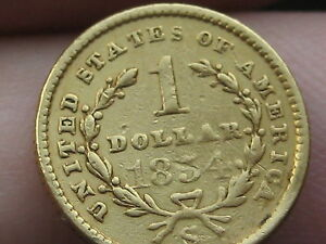 1854 S $1 GOLD LIBERTY HEAD ONE DOLLAR COIN   DATE