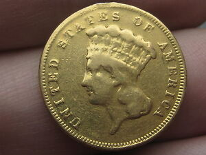 1889 $3 GOLD INDIAN PRINCESS THREE DOLLAR COIN  FINE DETAILS 2 300 MINTAGE