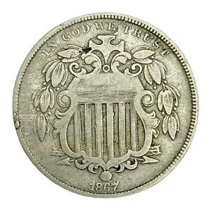 1867 SHIELD 5 CENT NICKEL WITH RAYS