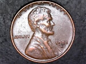 1951 S  WHEAT CENT PENNY COIN ERROR WITH DDO DOUBLING  1136
