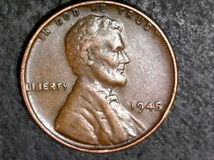 1945   WHEAT CENT PENNY COIN ERROR WITH DDO DOUBLING  1137