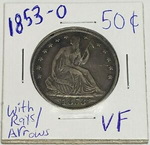 1853 O SEATED LIBERTY HALF DOLLAR WITH RAYS/ARROWS VF CONDITION BETTER DATE COIN