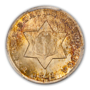 Click now to see the BUY IT NOW Price! 1851 3CS THREE CENT SILVER PCGS MS67