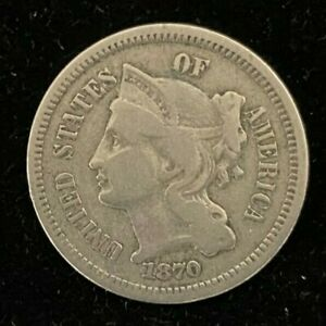 1870 UNITED STATES 3C THREE CENT NICKEL COIN BEAUTIFUL DETAILS COLLECTIBLE CC873