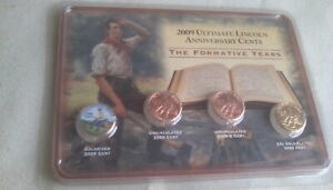 2009 LINCOLN ANNIVERSARY PENNY CENT SET. FORMATIVE YRS.COLORIZED GOLD PLATED.NIP