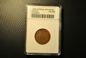 1865 TWO CENT ANACS UNC DETAILS NET AU 55 CLEANED