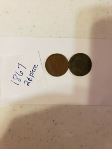 LOT OF TWO  2  1867 US TWO CENT PIECE COINS