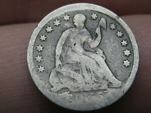 1855 P SEATED LIBERTY HALF DIME  WITH ARROWS GOOD DETAILS
