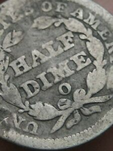 1849 O SEATED LIBERTY HALF DIME  VG DETAILS