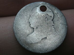 1809 1828 SILVER CAPPED BUST DIME  OLD TYPE COIN HOLED