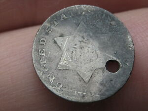 1852 THREE 3 CENT SILVER TRIME  TYPE 1  HOLED