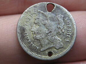 1866 THREE 3 CENT NICKEL  HOLED TWICE OLD BUTTON?