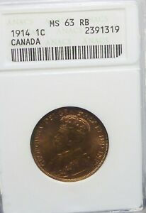 1914 CANADA LARGE CENT MS 63 ANACS