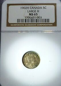 1902 H  CANADA FIVE CENTS LARGE H  MS 65 NGC