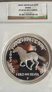 Click now to see the BUY IT NOW Price! MINTAGE 71 KILO KG 2002 PERTH LUNAR HORSE SILVER COIN PROOF NGC PF68 UCAM