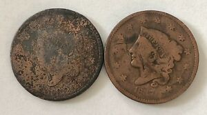LOT 2 PIECES 1 CENT ETATS UNIS FAIBLE QUALIT  N206