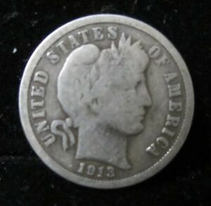 1913 P BARBER DIME   NO PROBLEMS   PART OF LIBERTY SHOWING    FULL RIMS
