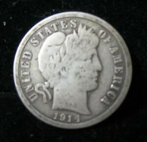 1914 P BARBER DIME   NO PROBLEMS   LOTS OF LIBERTY SHOWING   NICE COIN