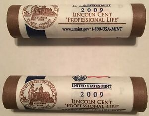 2009 P & D LINCOLN PENNY PROFESSIONAL LIFE ROLLS ORIGINAL MINT WRAPPING CP8340