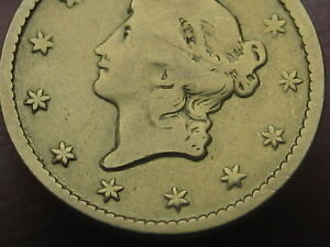 1849 $1 GOLD LIBERTY HEAD ONE DOLLAR COIN  OPEN WREATH WITH L