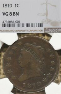 1810 1C NGC VG8 CLASSIC HEAD LARGE CENT   NICE PLANCHET