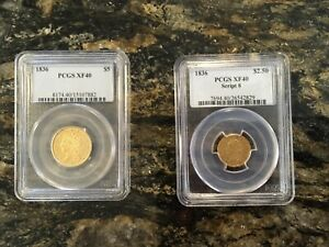 1836 $2.50 AND $5 GOLD CLASSIC HEAD LIBERTY THE PERFECT PAIR PCGS XF40
