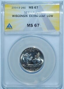 Click now to see the BUY IT NOW Price! 2004 D ANACS MS67 WISCONSIN WI QUARTER EXTRA LEAF LOW