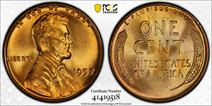 Click now to see the BUY IT NOW Price! 1957 P PCGS MS67 RD RED LINCOLN WHEAT CENT TIED FOR FINEST REGISTRY LOW POP