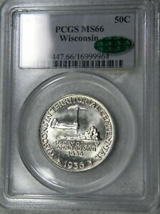 1936 WISCONSIN CENTENNIAL 50C PCGS MS 66 CAC IN OLD BLUE HOLDER BLAST WHITE COIN