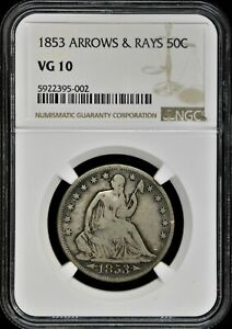 1853 ARROWS & RAYS SEATED LIBERTY HALF DOLLAR   NGC VG10