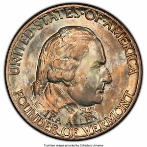 1927 VERMONT COMMEMORATIVE 1/2 DOLLAR GRADED MS 66 BY PCGS   NICE