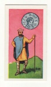 BRITISH COINS & COSTUMES CARDS 1960S. KING ALFRED THE GREAT. SILVER COIN