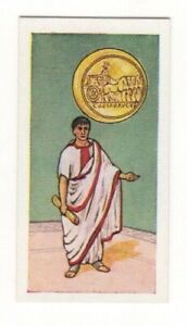 BRITISH COINS & COSTUMES CARDS 1960S. ROMAN EMPEROR AUGUSTUS. GOLD CHAIN