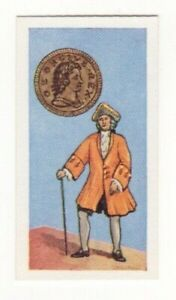 BRITISH COINS & COSTUMES CARDS 1960S.KING GEORGE I. HALFPENNY