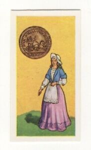 BRITISH COINS & COSTUMES CARDS 1960S. QUEEN ANNE. FARTHING