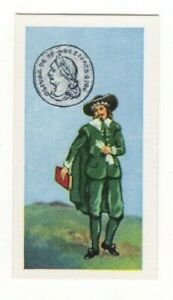 BRITISH COINS & COSTUMES CARDS 1960S.OLIVER CROMWELL. SIXPENCE