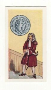 BRITISH COINS & COSTUMES CARDS 1960S.KING WILLIAM & QUEEN MARY. SHILLING