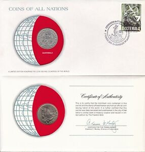 COINS OF ALL NATIONS GUATEMALA 1979 25 CENTAVOS KM 278 NICKEL BRASS US SELLER